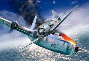 LA-11_atakuet_bombardirovshchik_SSHA_PB4Y-2_8-04-1950